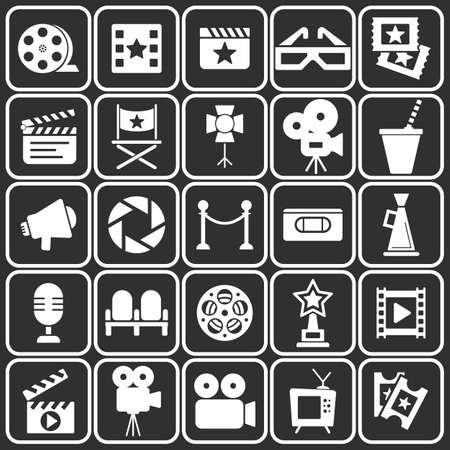 vcr: Cinema retro movies icons set. Template vector concept.