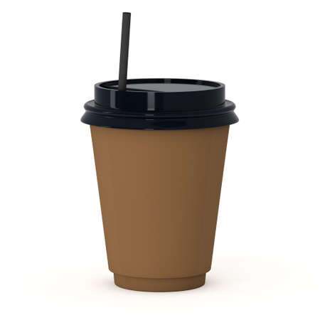 plastic straw: Disposable coffee cup with paper straw . Brown paper mug with plastic cap. 3d render isolated on white background