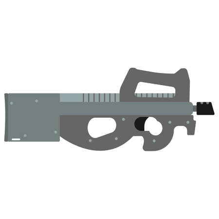 semi automatic: Submachine gun security and military weapon. Metal automatic gun. Criminal and police firearm vector illustration isolated on white.