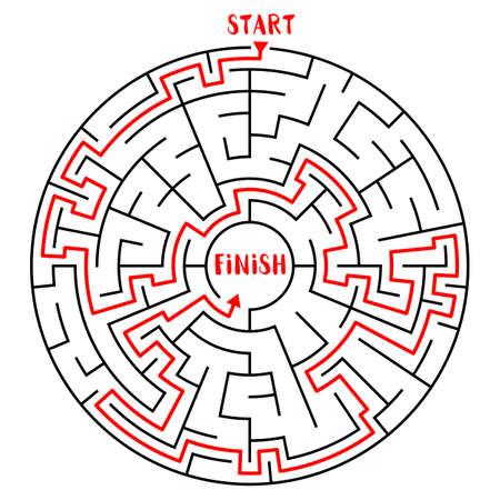 Circle Maze with Solution. Labyrinth with Entry and Exit. Find the Way Out Concept. Transportation and Logistics Vector Illustration.