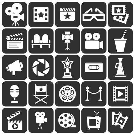 vcr: Cinema retro icons set