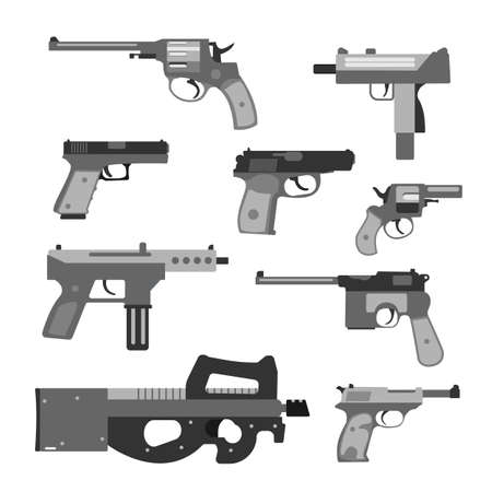 semi automatic: Weapons vector handguns collection.