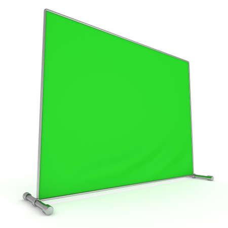 Billet press wall with green screen banner.
