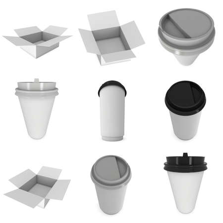 black coffee: Disposable coffee cups. Blank paper mug with plastic cap