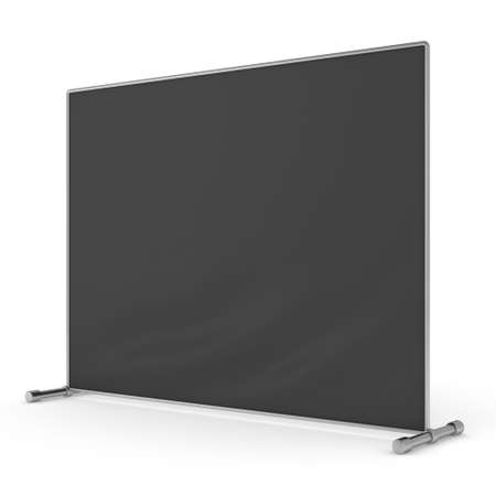 congress: Billet press wall with black screen chroma key banner. Mobile trade show booth white and blank. 3d render isolated on white background. High Resolution Template for your design.