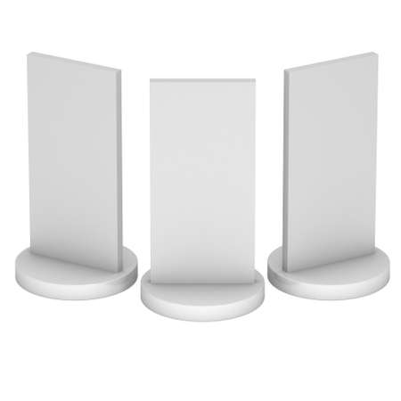 obelisk: LCD Screen Stand Group. Blank Trade Show Booth. 3d render of lcd screen isolated on white background. High Resolution. Ad template for your expo design. Stock Photo