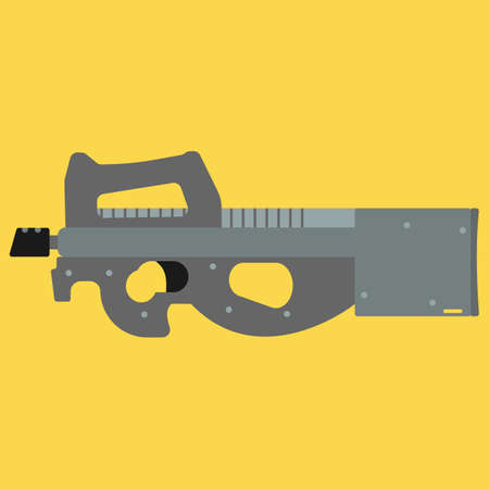 semi automatic: Submachine gun security and military weapon Illustration