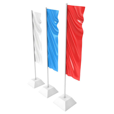 Flag Blank Expo Banner Stand. 3D Stock Photo