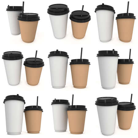 Disposable coffee cups. Blank paper mug with plastic cap