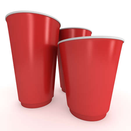 take out: Disposable drink cups. Red paper mug Stock Photo