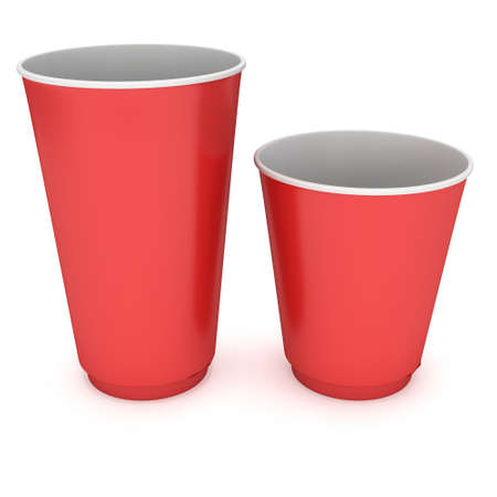 Disposable drink cups. Red paper mug Stock Photo