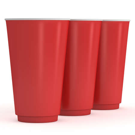 take away: Disposable drink cups. Red paper mug Stock Photo