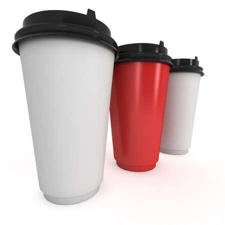take away: Disposable coffee cups. Blank paper mug Stock Photo