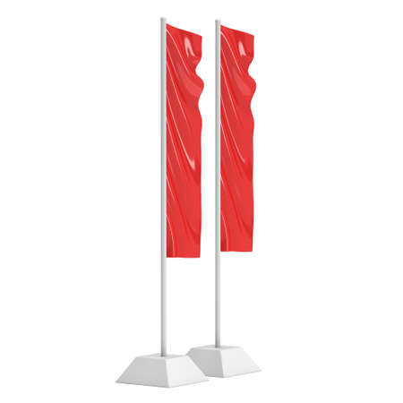 Flag Red Expo Banner Stand. 3D Stock Photo