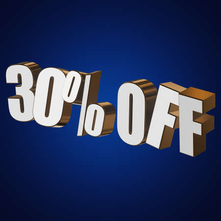 christmas bonus: 30 percent off letters on blue background. 3d render isolated.