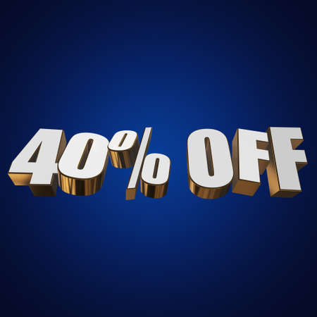 40 percent off letters on blue background. 3d render isolated. Stock Photo