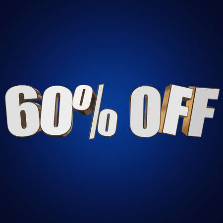 christmas bonus: 60 percent off letters on blue background. 3d render isolated.