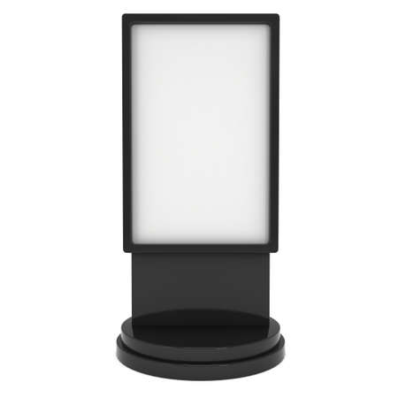 lcd screen: LCD Screen Stand. Black Trade Show Booth. 3d render of lcd screen isolated on white background. High Resolution. Ad template for your expo design.
