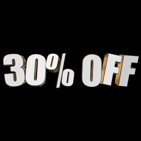 christmas bonus: 30 percent off 3d letters on black background