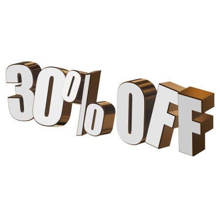 christmas bonus: 30 percent off 3d letters on white background Stock Photo