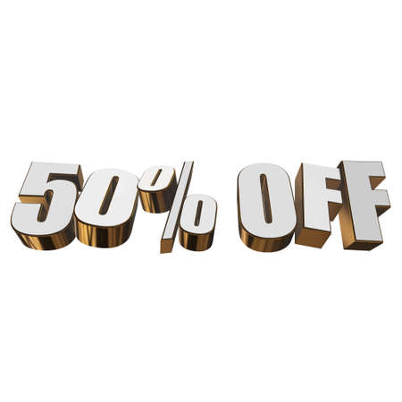christmas bonus: 50 percent off 3d letters on white background Stock Photo