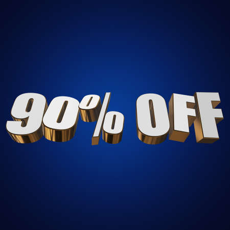 90 percent off letters on blue background. 3d render isolated. Stock Photo