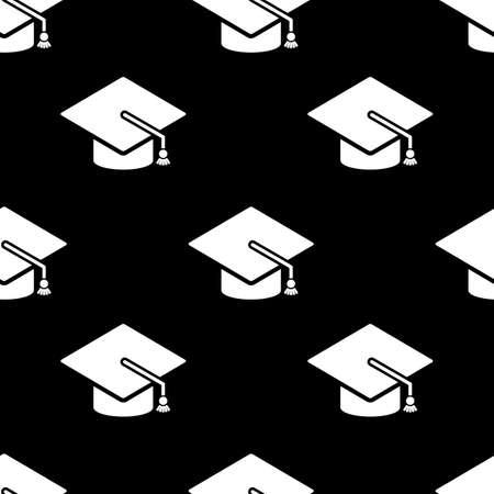 Graduation cap icon seamless pattern