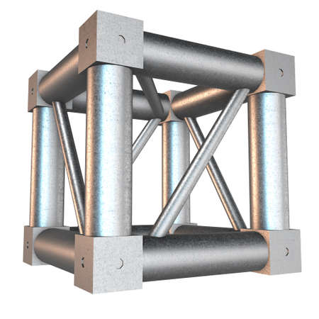 girders: Steel truss girder cube element. 3d render isolated on white