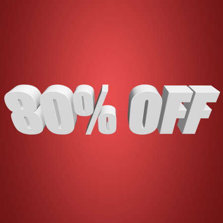 80 percent off 3d letters on red background