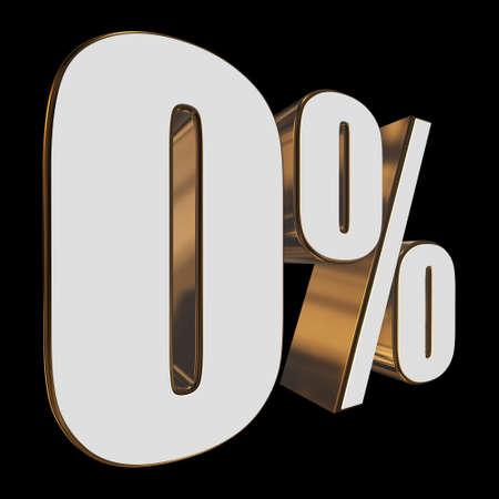 0 percent on black background Stock Photo