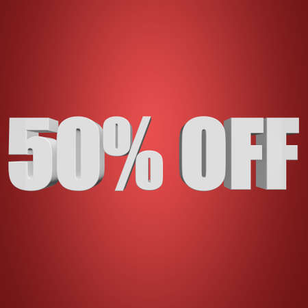50 percent off 3d letters on red background