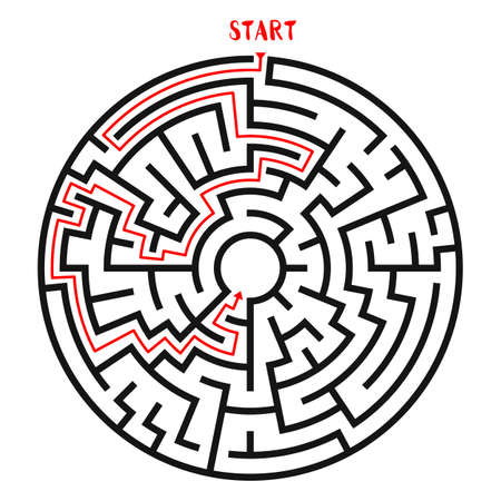 red line: Circle Maze Vector