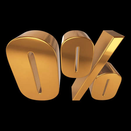 Null percent on black background Stock Photo