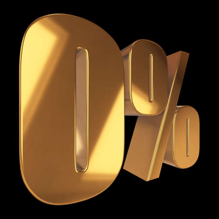 Null percent on black background Stock Photo