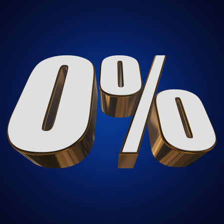 0 percent on blue background Stock Photo