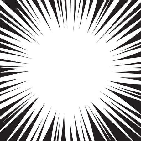Comic book black and white radial lines background.