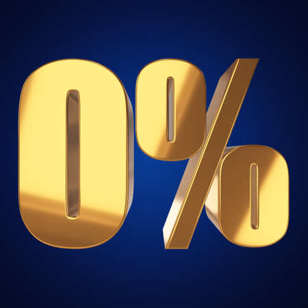 Null percent on blue background Stock Photo