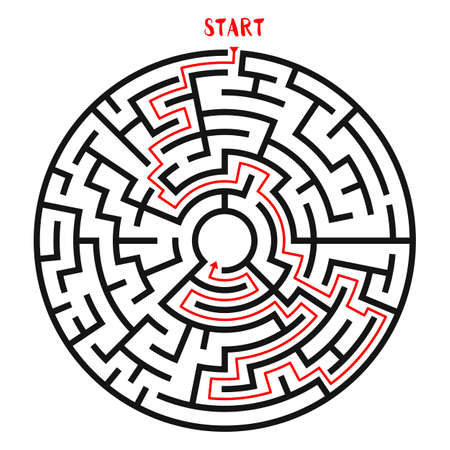 leading the way: Circle Maze Vector illustration.