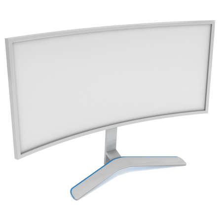 fullhd: White Curved LCD tv screen. 3d render isolated on white. Stock Photo