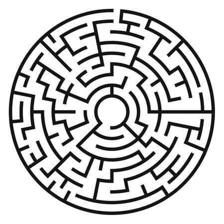 Circle Maze. Laberinto con entrada y salida. Encuentra el concepto de salida. Ilustración vectorial