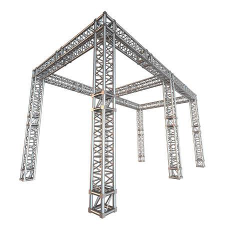 Steel truss girder rooftop construction Stock Photo