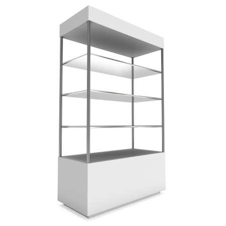 market place: Empty showcase with glass shelves for exhibit. 3D render illustration isolated on white background. Trade show booth blank pedestal for expo design. Stock Photo