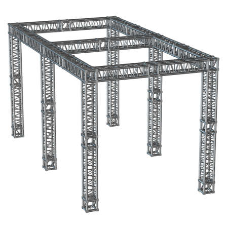 iron: Steel truss girder rooftop construction Stock Photo