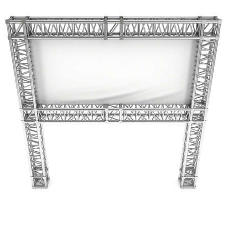 famous industries: Steel truss girder element banner construction. 3d render press wall isolated on white