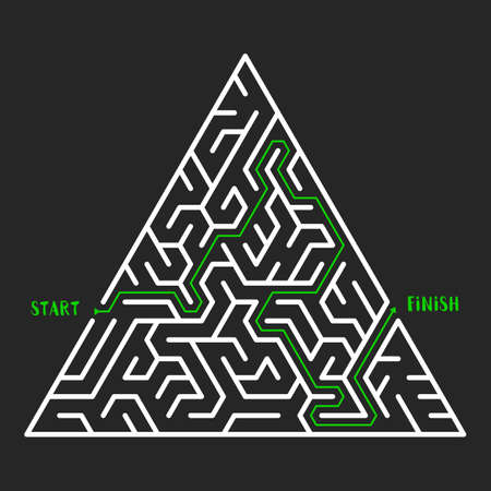 trigonal: Triangular Maze Game background. Labyrinth with entry and exit. Vector Illustration.