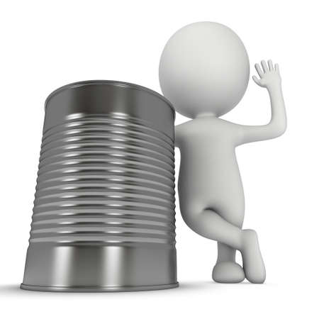 aluminium: Man stand near aluminium can. 3D render of metal canned food isolated on white.