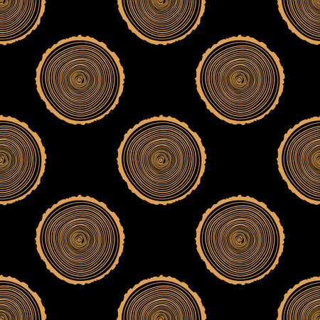 logging: Tree Rings Seamless Vector Pattern. Saw cut tree trunk background. Vector Illustration. Illustration