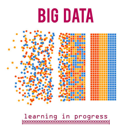 algorithms: Big data visualization. Machine learning algorithms. Analysis of information. Visual data infographics design. Science and technology vector background.