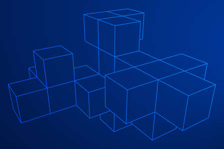 wire mesh: Mesh low poly wireframe cubes element. Connected lines. Connection Box Structure. Digital Data Visualization Concept. Vector Illustration.
