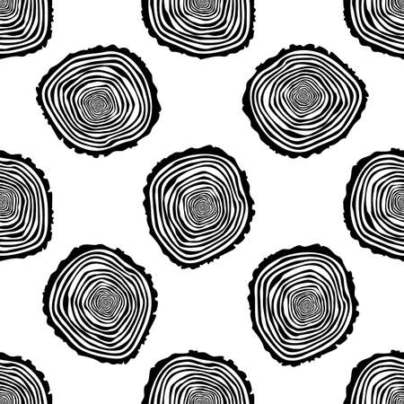 logging: Tree Rings Seamless Vector Pattern. Illustration